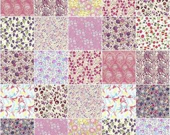"36 Liberty print pink and purple charm pack, 5"" patchwork squares in pink, purple and lilac"