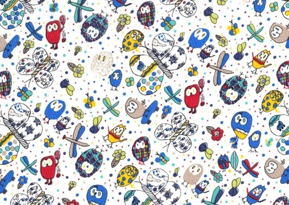 Liberty of London Fat Eighth 'Elizas Owls A', blue, red and yellow children's Liberty print