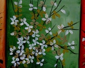 """Mini Blossoms Triptych, three 4""""x4"""" original oil paintings by Jo Edwards"""