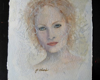 Whisper Portrait, an original Watercolor/Collage by Jo Edwards