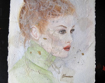 Whisper Portrait II, an original watercolor/collage by Jo Edwards