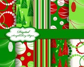 Cute Red and Green Christmas Digital Papers for scrapbooking, card making, Invites, photo cards (P50)