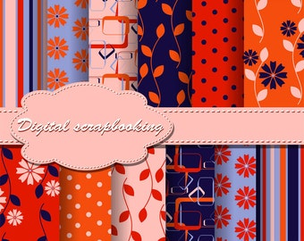 Cute Pink, Orange and Blue Flower Digital Papers for scrapbooking, card making, Invites, photo cards (P75)