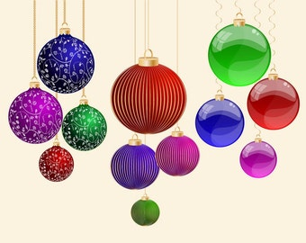 SALE - Cute Christmas Ball Clip Art for scrapbooking, card making, Invites, photo cards (CA16)