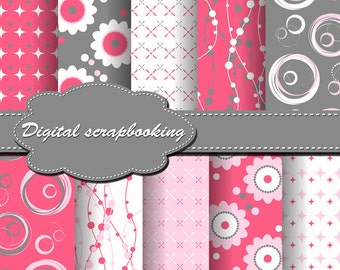 Cute Digital Papers for scrapbooking, card making, Invites, photo cards (P88)