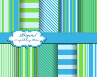 Cute Line Blue and Green Digital Papers for scrapbooking, card making, Invites, photo cards (P118)