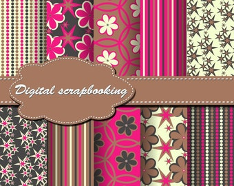 Chocolate, Yellow and Hot Pink Flower Digital Papers for scrapbooking, card making, Invites, photo cards (P132)