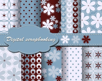 Brown, Blue and White Flower Digital Papers for scrapbooking, card making, Invites, photo cards (P135)