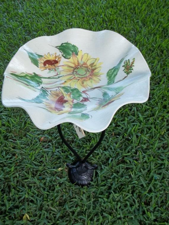 Reserved for Joe  Bird Bath from Vintage Wrought Iron and Vintage Sunflower  Bowl