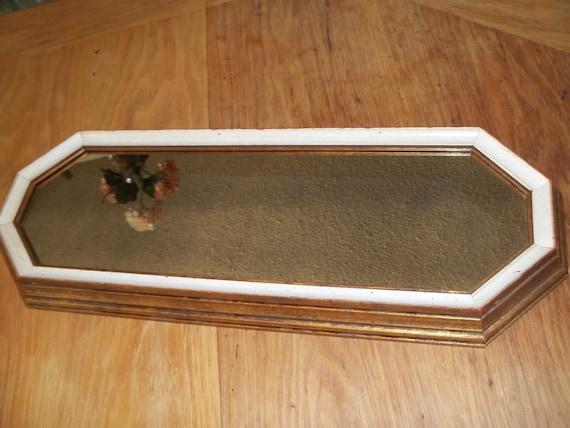 Mirror Framed Vintage Dresser or Wall Gold Frame With White Edges