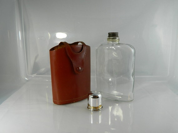 Vintage Whiskey Flask Glass and Leather Cover