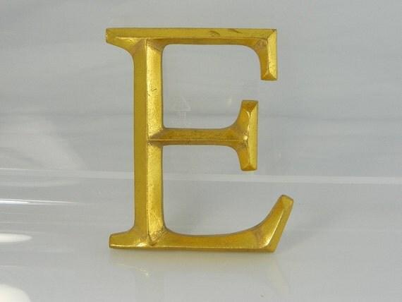 Gold Leaf Letter E, Typesetter Letter E Plaque