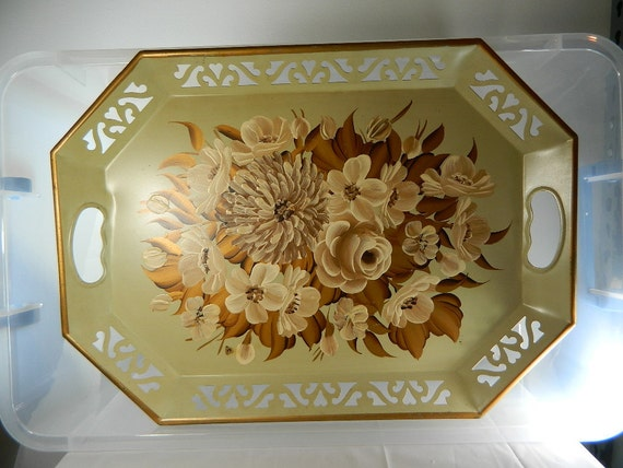 Vintage metal Tole Serving Tray, Creams and earthtone flowers, hand painted