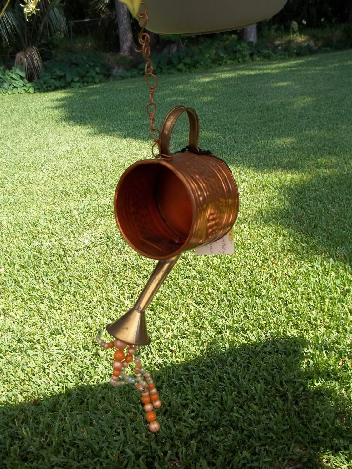 Copper watering can upcycled bird feeder garden accent for Upcycled bird feeder