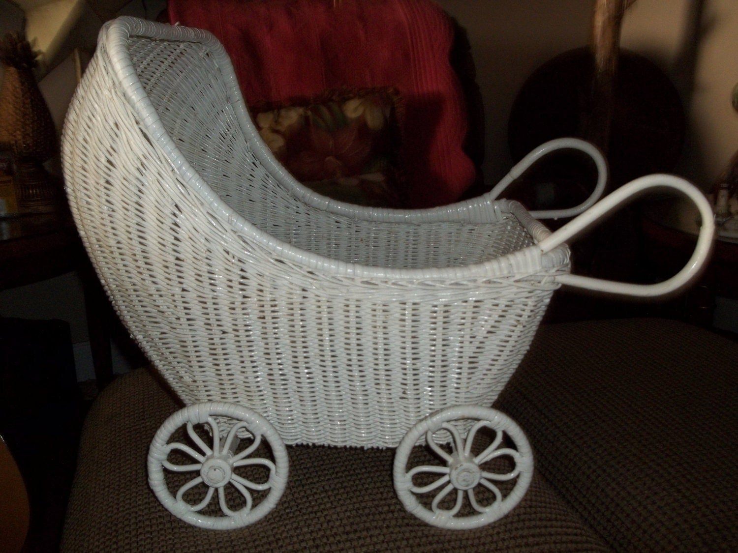 Vintage White Wicker Baby Doll Stroller