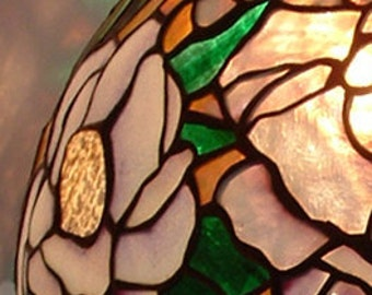 White Lavender and Green Christopher Foster Original Design Art Nouveau Style Stained Glass Peony Lamp