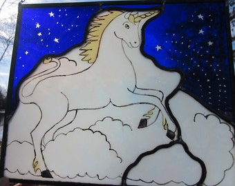 Cobalt Blue and White Stained Glass Unicorn Window Hanging