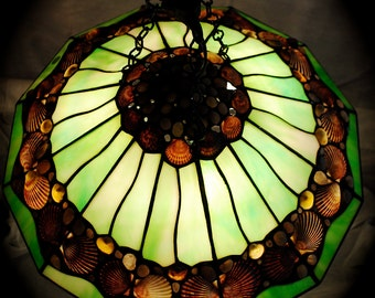 Unique Green Stained Glass Seashell and Pebble Hanging Lamp
