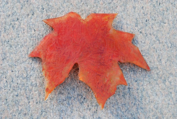 Red Jack Frost Sugar Maple Leaf Stained Glass Windowhanging Suncatcher