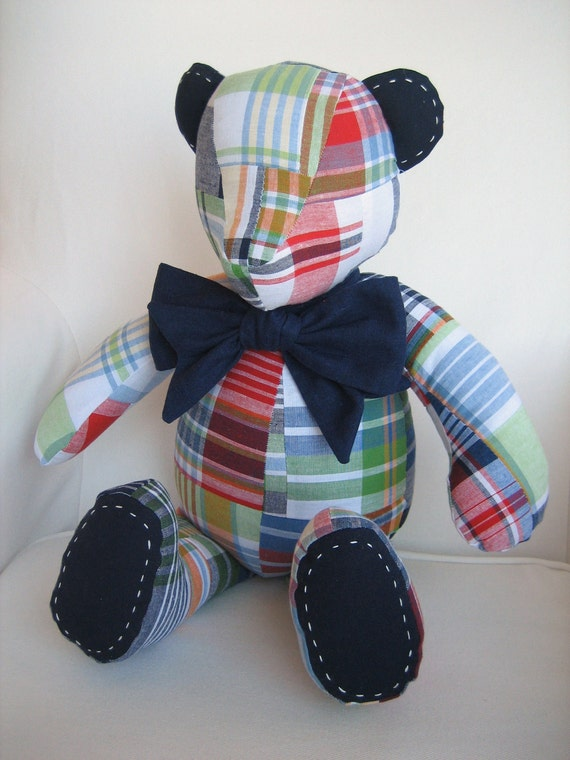 MADE TO ORDER - Zachary - Madras Fabric Teddy Bear using fabric from Pottery Barn Kids Navy Madras Bedding Collection