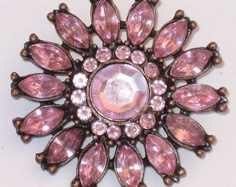 PINK RHINESTONE Vintage 80's New Brooch Antiqued Copper MeTaL FLOWER