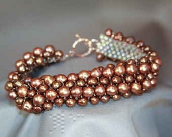 Bracelet Freshwater Pearl and Bead - Copper/Brown