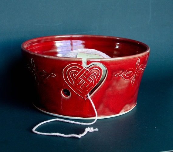 Yarn Bowl in Dark Red w/ Heart - Vogue Knitting LIVE NYC