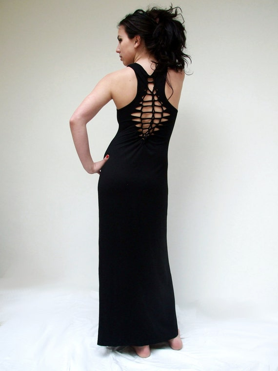 Black Maxi dress -  sexy open back long evening dress - woven braided reconstructed - eco fashion summer party festival tribal bohemian