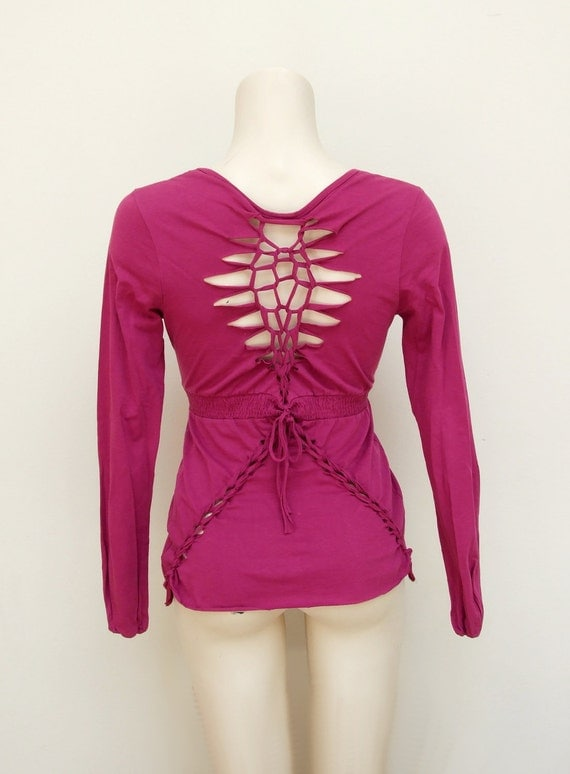 Fuchsia braided shirt - eco magenta longsleeve top - woven reconstructed open back - hippie bohemian tribal festival party - S M - US 6 8