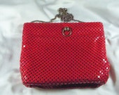 "Red Chain Mail Bag Vintage Metal Purse with Leather Interior & 18"" Drop Chain c1970's"
