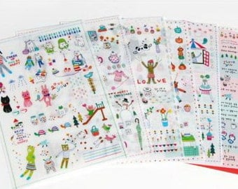 Deco Translucent Sticker Set - Little diary - very berry deco sticker - 6 sheets