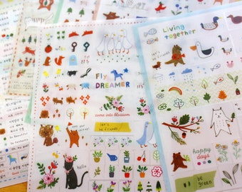 Deco Translucent Sticker Set - tofeenut deco sticker - 6 sheets