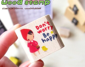 Wooden Rubber Stamp - Don't worry, Be happy - CHEER UP Series - 1 pcs