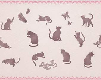 DIY Rubber Stamp Tin Box Set -  Pussy Cat - 12 Pcs