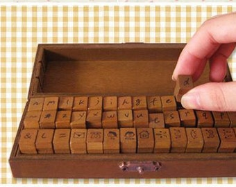 Wooden Rubber Stamp Box - Vintage Handwriting Style -  Lowercase Stamps and Symbol Stamps - 42 Pcs