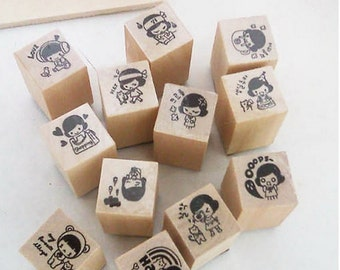 Wooden Rubber Stamp Set - DIY Diary Cuti Stamp Box Set - 15 Pcs