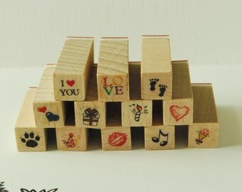 Wooden Rubber Stamp Set - Mini Diary Stamp Set - Love... -  12 Pcs
