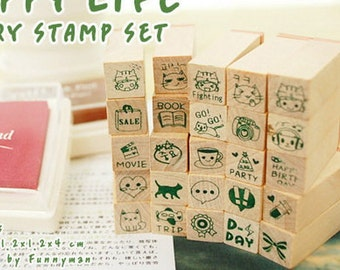 Wooden Rubber Stamp Set - Lovely Cats Diary Stamp Set - 25 Pcs