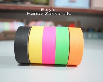 Japanese Washi Masking Tape Set - Fluorescent Color Series - 5  rolls - 11 Yards (each roll)