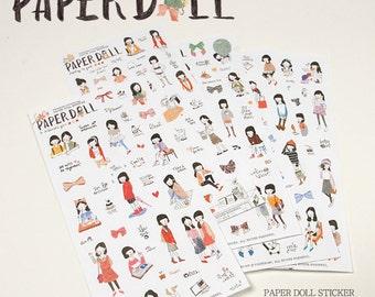 Black Hair Girl - Translucent Deco Sticker Set - 6 Sheets