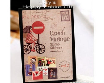 Paper Sticker Box Set - Czech Vintage Stamp Stickers - Vol 2 - 16 Sheets