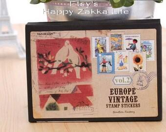 Paper Sticker Box Set - Europe Vintage Stamp Stickers - Vol 2 - 16 Sheets