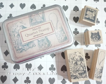 Wooden Rubber Stamp Tin Box Set - Alice in Wonderland - Alice 03 - 4 Pcs