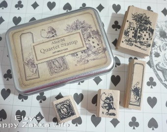 Wooden Rubber Stamp Tin Box Set - Alice in Wonderland - Alice 04 - 4 Pcs