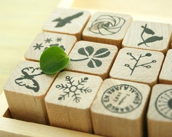 Wooden Rubber Stamp Set - Nature Pattern - 12 Pcs