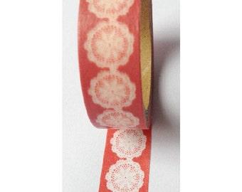 Japanese Washi Masking Tape - White Lace with Red -  5.5 yards