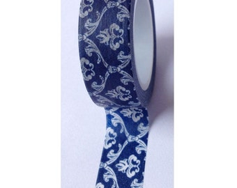 Dark Blue Art Deco Pattern - Japanese Washi Masking Tape - 11 Yards