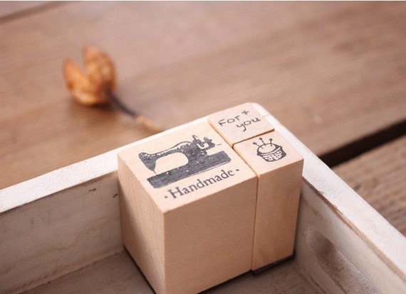 Wooden Rubber Stamp Set - Sewing Machine, Pincushion and the word FOR YOU - 3 Pcs Stamps and 1 Ink Pad