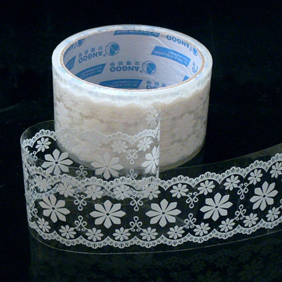 On sale - Translucent Wide Sticker Tape - White Lace 07 - 16 Yards