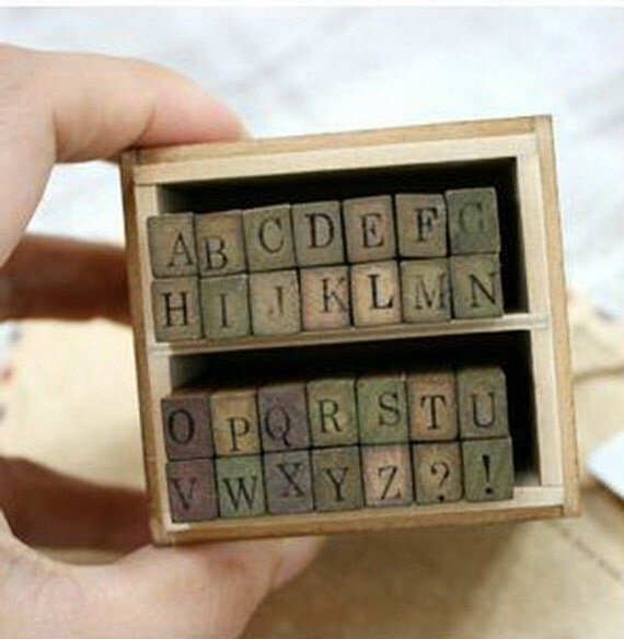 On sale - Wooden Rubber Stamp - Alphabet Stamps - Print Style - Capital Letters - 28 pcs